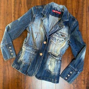 Blue Bleached Denim Jean Jacket